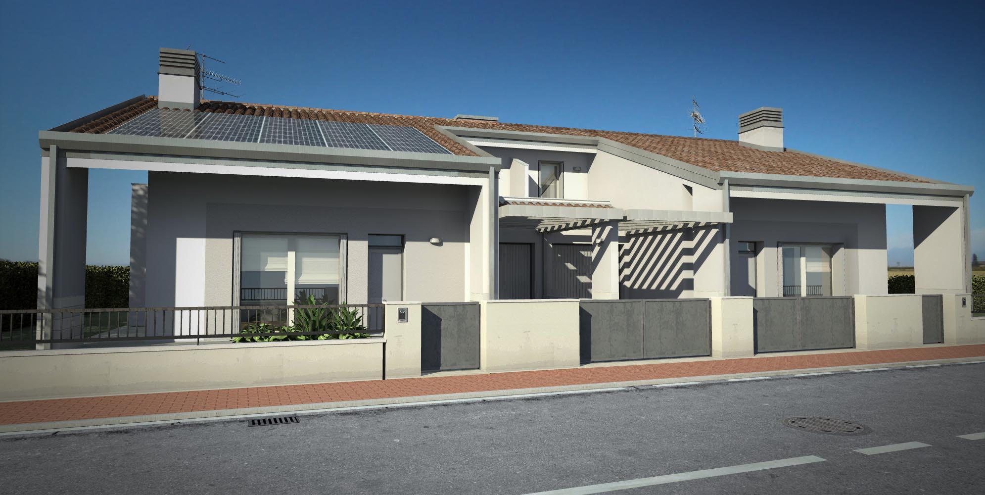 Progetti case moderne porticato moderno n with progetti for Progetti ville bifamiliari moderne